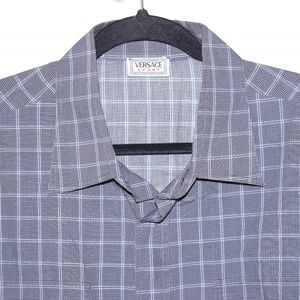 Versace Sport Size 54 Grey Blue Plaid Long Sleeve